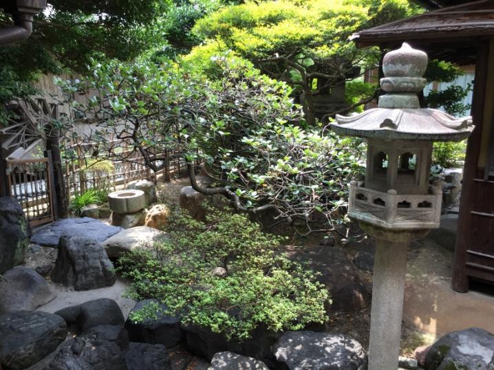岡菊苑の中庭。通りとは違った空気が流れています。